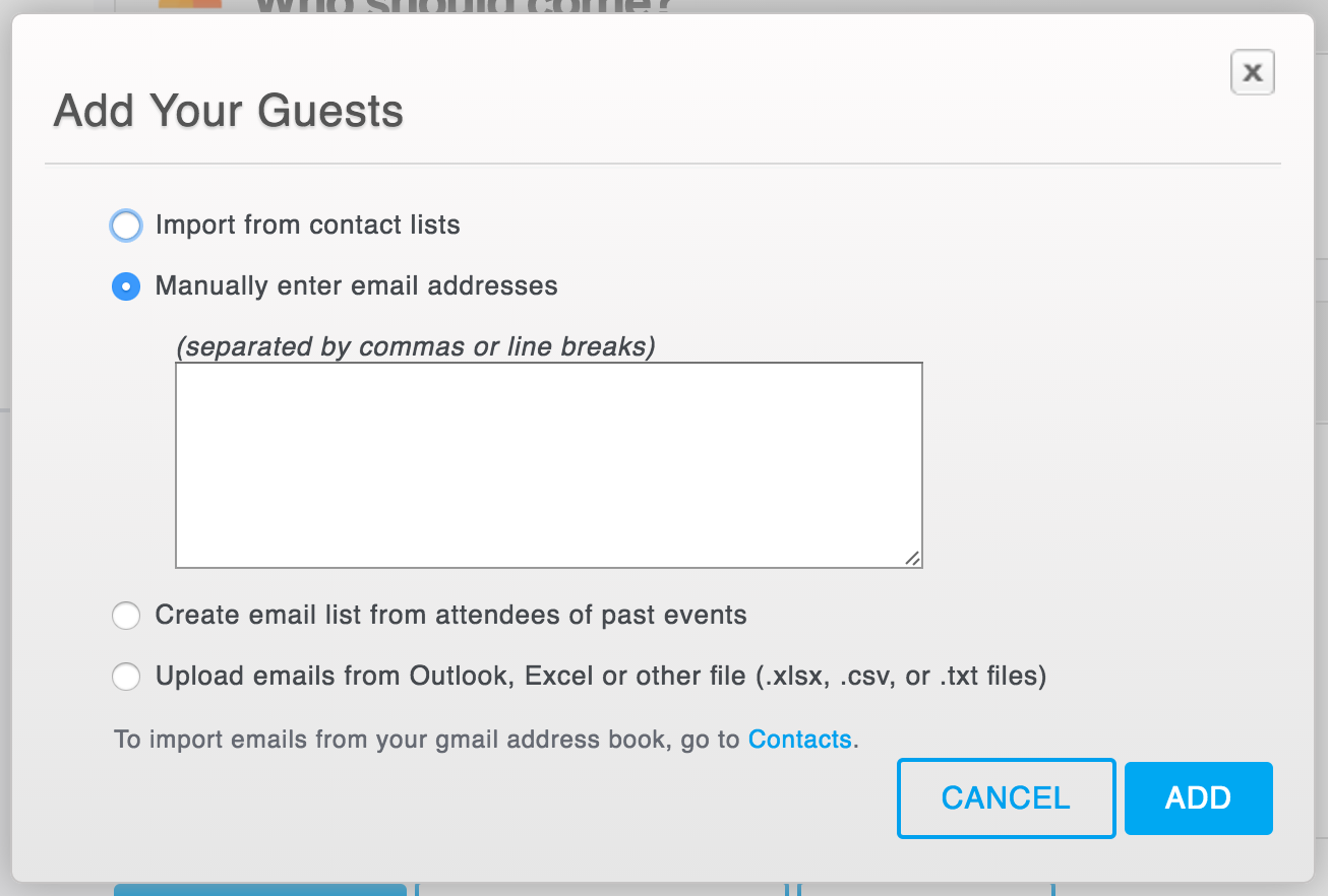 The Add Your Guests window will pop up after clicking the green Add Guests button.