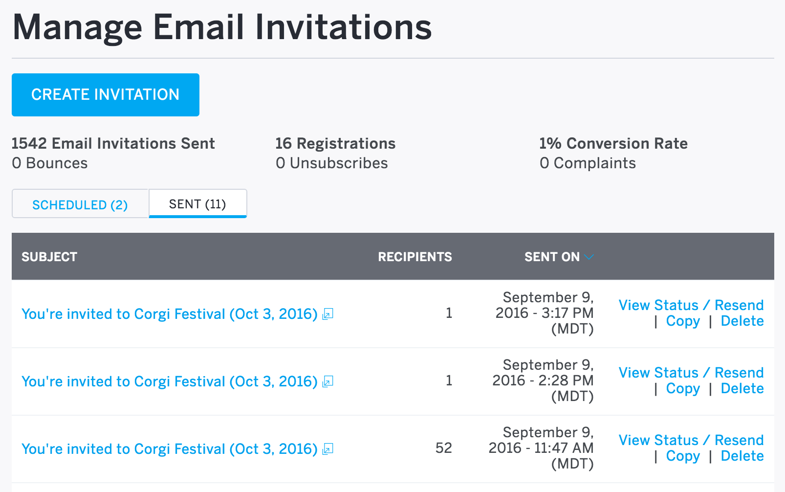 When clicking Email Invitations on the left-hand side of the page, Manage email invitations is the first page you'll see if you've already scheduled or sent invitations.