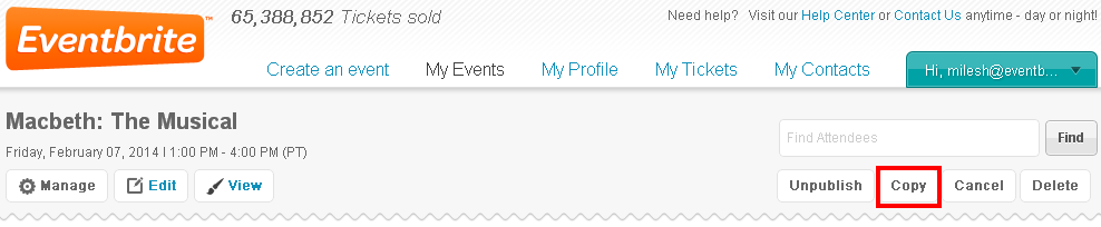 How to copy an event registration page