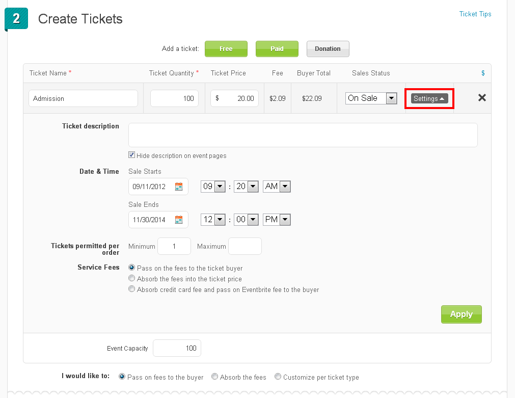How to create ticket types