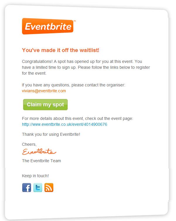 Eventbrite ticket release email