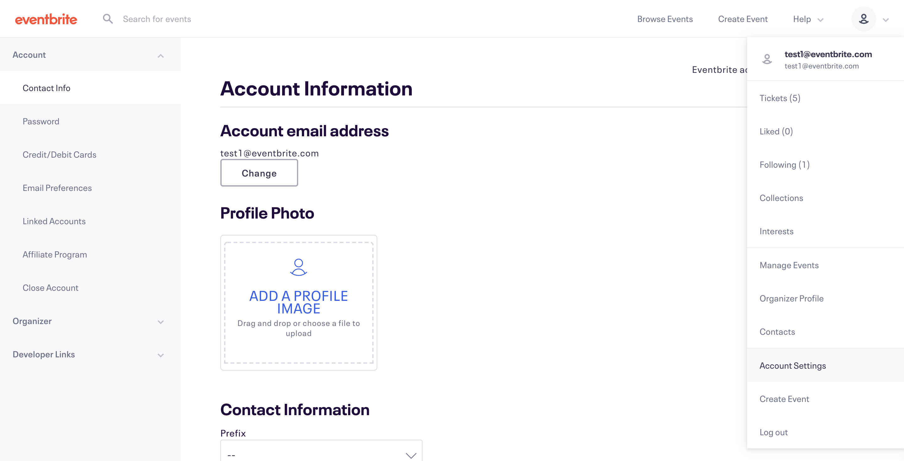 The account menu is located at the top of the page, and Account is the second-to-last option.