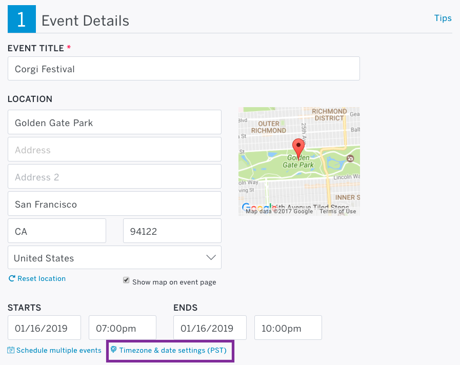 Step 1: Event Details is the first step on the Edit page. The Timezone & date settings link appears below the Starts field.