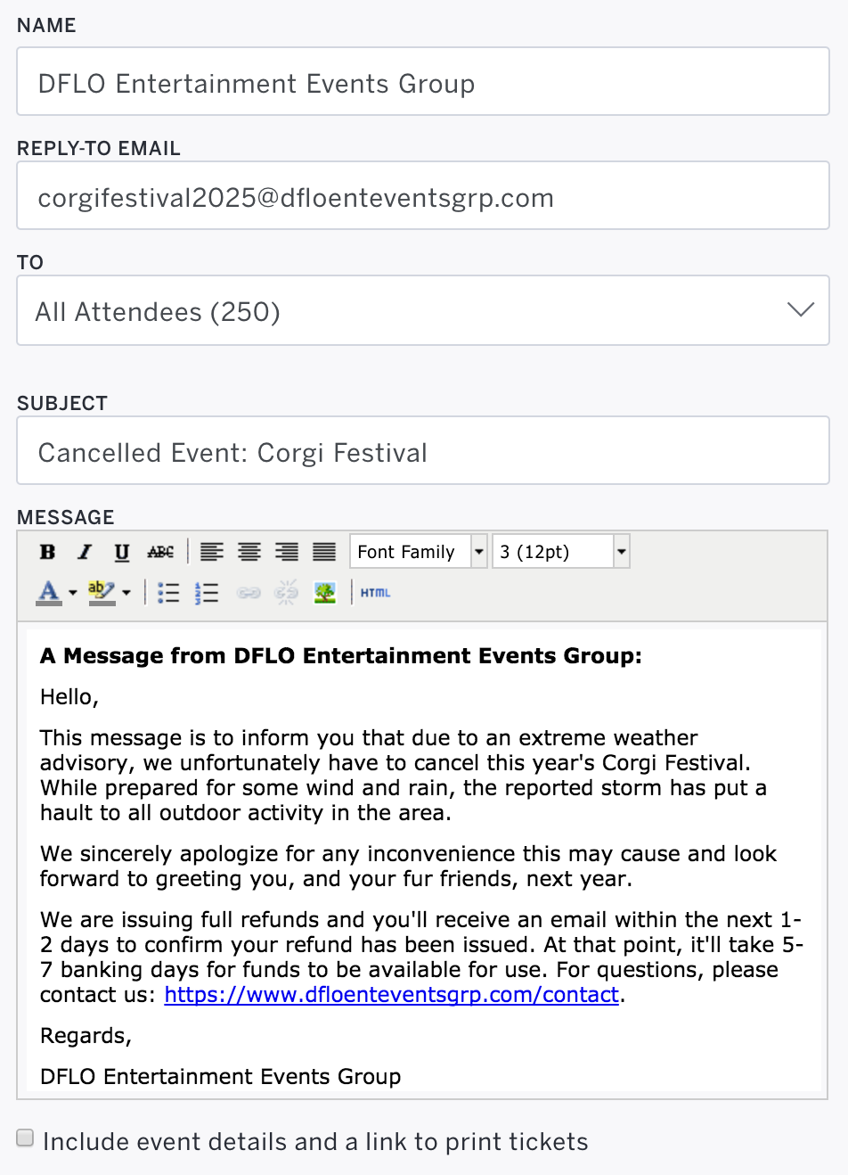 Create New Attendee Email is located beneath the Emails to Attendees section.