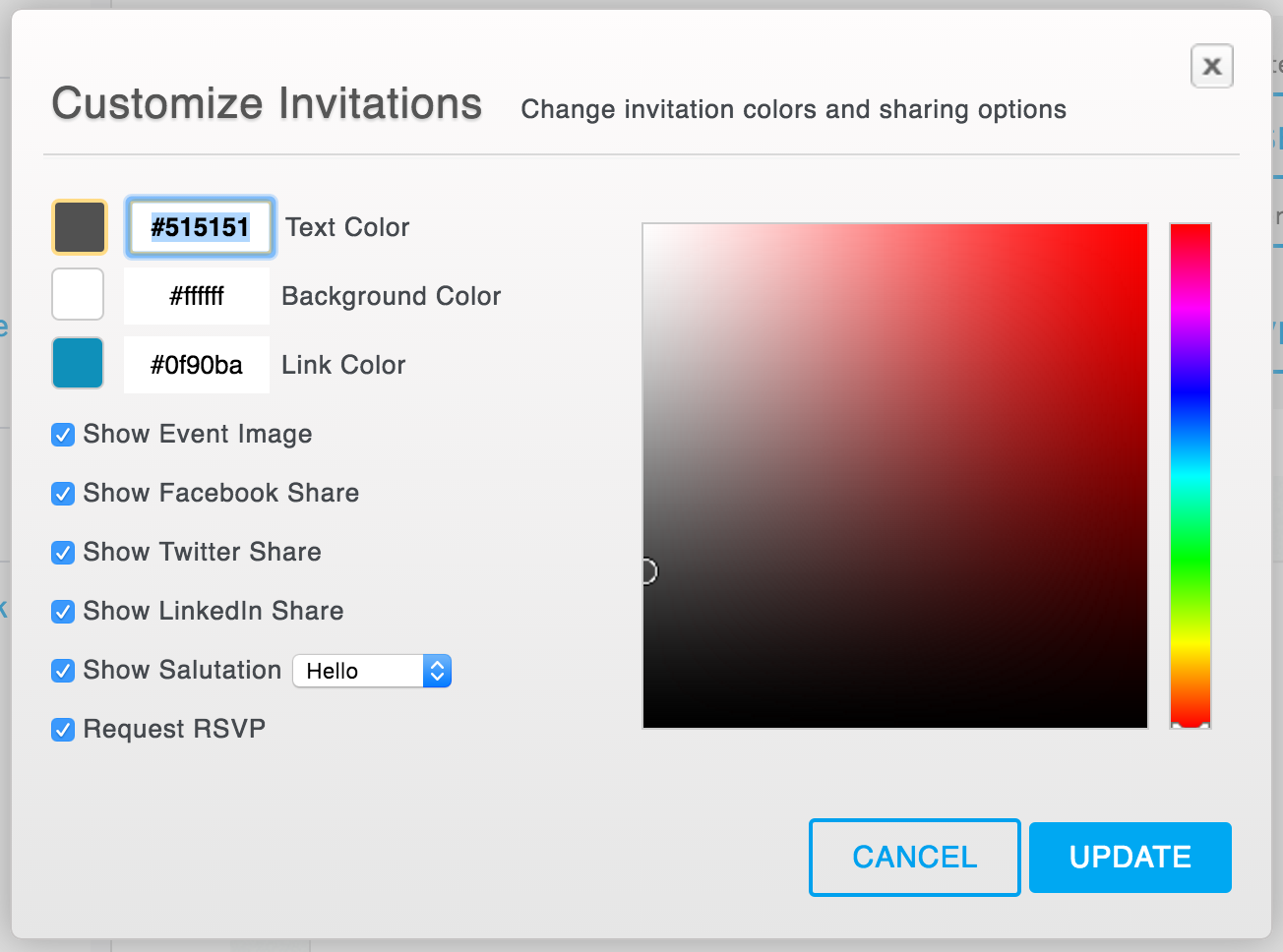Customize is located at the top of the invitation preview, above the Edit button.