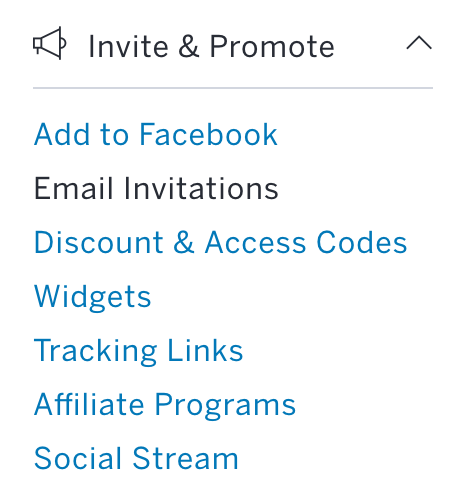 Invite & Promote is located near the middle of the menu on the left-hand side of the page.